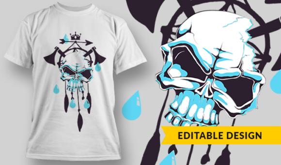 Skull Over Dreamcatcher And Axes   T-shirt Design Template 2808 1