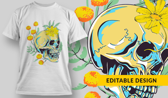 Skull And Flowers | T-shirt Design Template 2809 1
