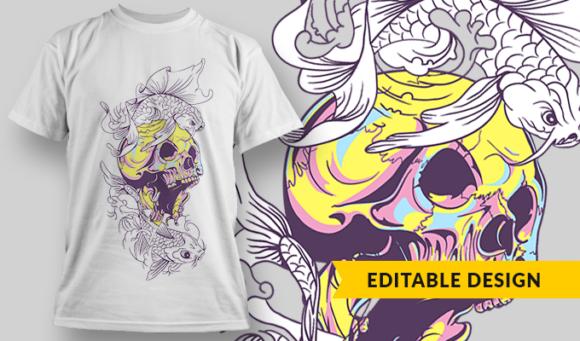 Skull & Koi | T-shirt Design Template 2863