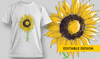Sunflower With Name Placeholder | T-shirt Design Template 2867