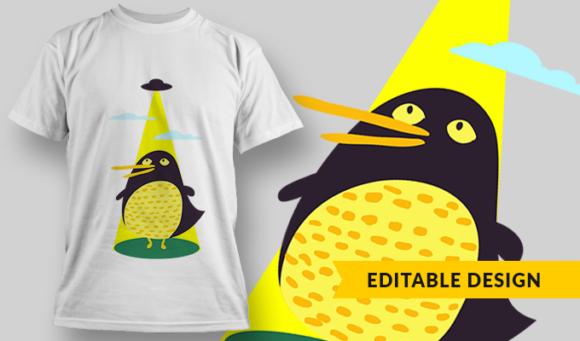 Alien Kidnapping Penguin | T-shirt Design Template 2874 1
