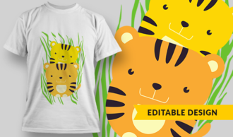 Baby Tigers   T-shirt Design Template 2875