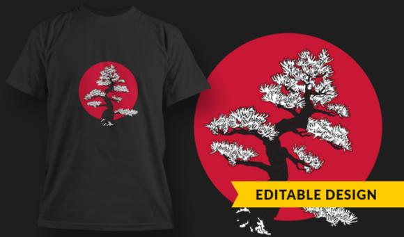 Bonsai Moon  T-Shirt Design Template 2904 1