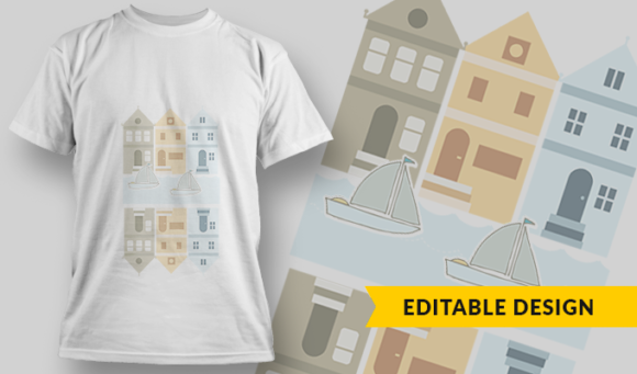 City River  T-Shirt Design Template 2909 1