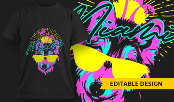 Miami Wolf   T-shirt Design Template 2887