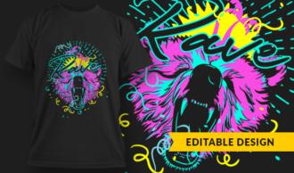 Rave Bear | T-shirt Design Template 2888