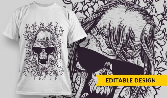 Bad-Ass Skull With Sunglasses   T-shirt Design Template 2890