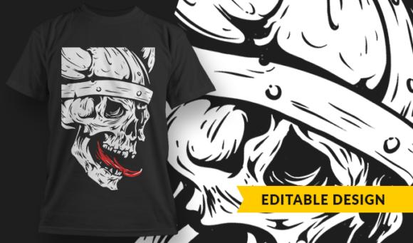 Viking Skull  T-Shirt Design Template 3267 1